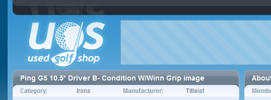 Used Golf Shop website screenshot