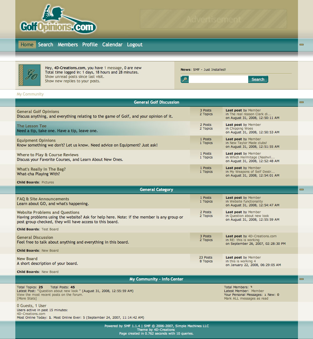 Golf Opinions SMF theme screenshot